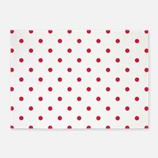 White & Red Polka Dots 5'x7'Area Rug