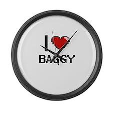 I Love Baggy Digitial Design Large Wall Clock