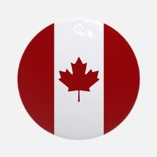 Canada: Canadian Flag (Red & White) Round Ornament