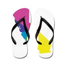 california rainbow Flip Flops
