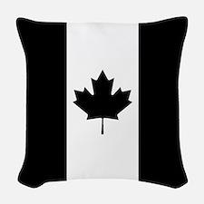 Canada: Black Military Flag Woven Throw Pillow