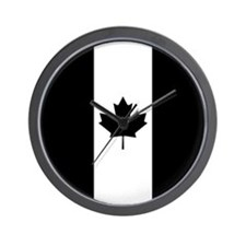 Canadian Flag: Black II Wall Clock