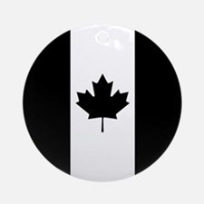 Canada: Black Military Flag Round Ornament