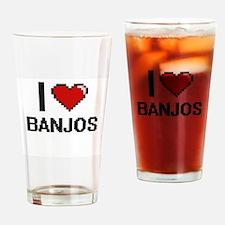 I Love Banjos Digitial Design Drinking Glass