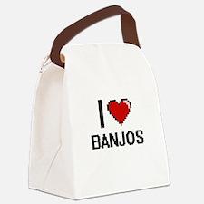 I Love Banjos Digitial Design Canvas Lunch Bag