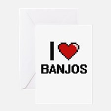 I Love Banjos Digitial Design Greeting Cards