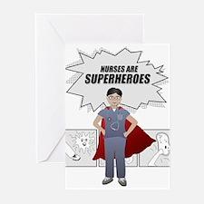 Nurses are Superheroes man Greeting Cards