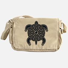 Black Native American Beadwork Turtl Messenger Bag