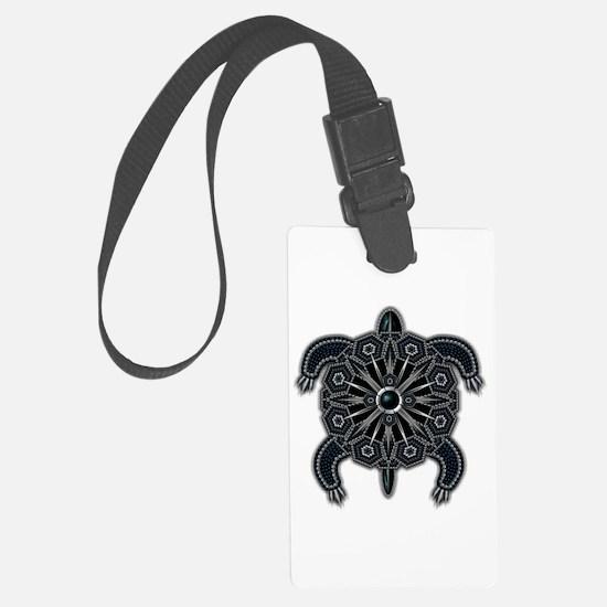 Black Native American Beadwork T Luggage Tag