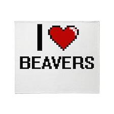 I Love Beavers Digitial Design Throw Blanket