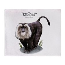 Lion-Tailed Macaque Throw Blanket