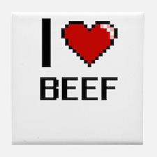 I Love Beef Digitial Design Tile Coaster