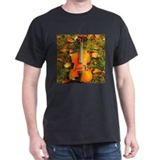 romantic fall leaves violin T-Shirt