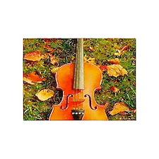 romantic fall leaves violin 5'x7'Area Rug