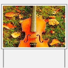 romantic fall leaves violin Yard Sign