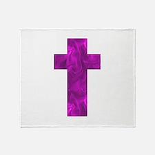 Purple Catholic Crucifix Alice's Fav Throw Blanket