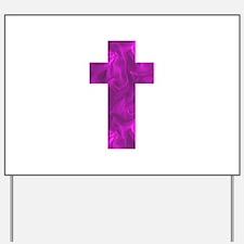 Purple Catholic Crucifix Alice's Fave Yard Sign