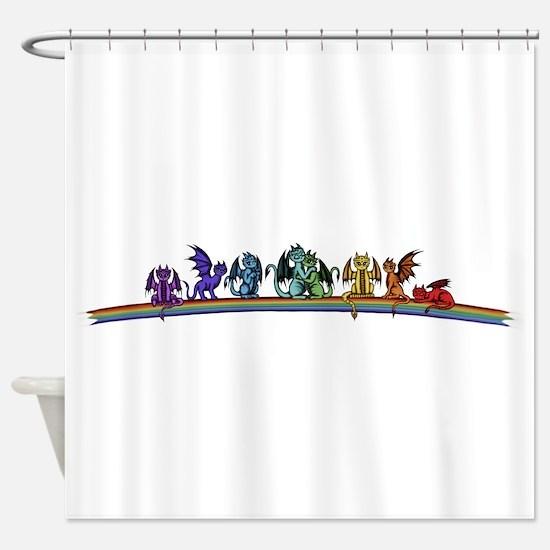 Rainbow Dragons Shower Curtain
