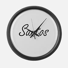Santos surname artistic design Large Wall Clock