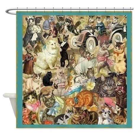 Cats Cats Cats Shower Curtain By MaggiesHeartVintageShoppe