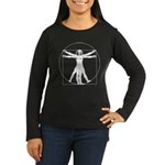 Da Vinci Vitruvian Man Women's Long Sleeve Dark T-