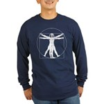 Da Vinci Vitruvian Man Long Sleeve Dark T-Shirt