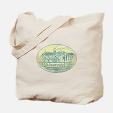 Log Cabin Resort Oval Etching Tote Bag
