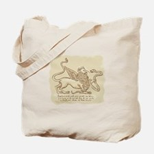 Griffin Fighting Snake Side Etching Tote Bag
