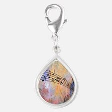 Abstract Music Silver Teardrop Charm