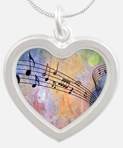 Abstract Music Silver Heart Necklace