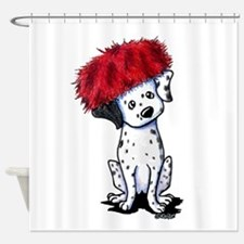 KiniArt Dalmatian In Red Shower Curtain