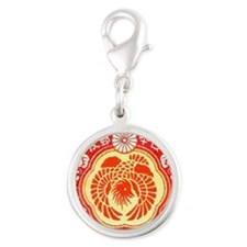 China Red Silver Round Charm