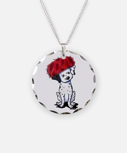 KiniArt Dalmatian In Red Necklace Circle Charm