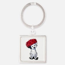 KiniArt Dalmatian In Red Square Keychain