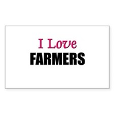 I Love FARMERS Rectangle Decal