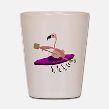 Pink Flamingo Kayaking Shot Glass