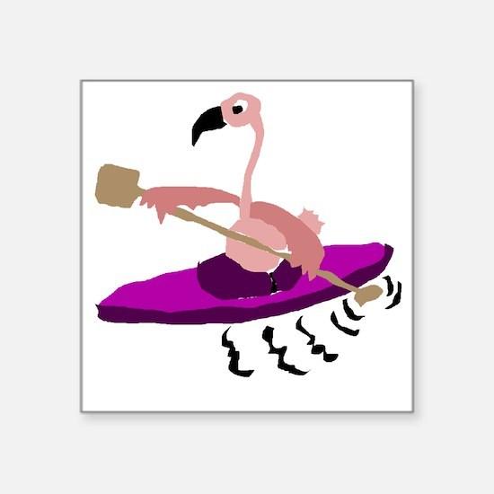 """Pink Flamingo Kayaking Square Sticker 3"""" x 3"""""""
