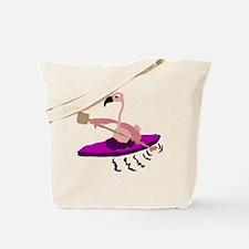 Pink Flamingo Kayaking Tote Bag