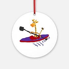 Giraffe Kayaking Round Ornament