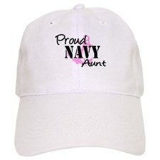 Proud Navy Aunt Pink Anchor Baseball Cap