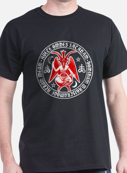 Satanic Baphomet with Hail Satan Inscripti T-Shirt