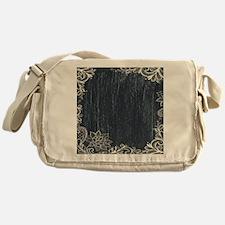 white lace black chalkboard Messenger Bag