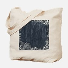 white lace black chalkboard Tote Bag