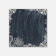 "white lace black chalkboard Square Sticker 3"" x 3"""