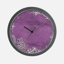 purple abstract white lace Wall Clock