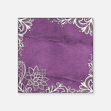 "purple abstract white lace Square Sticker 3"" x 3"""