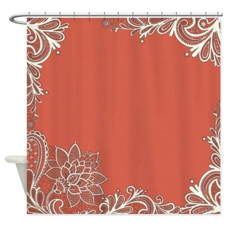 mandarin pink white lace shower curtain by listing store 62325139. Black Bedroom Furniture Sets. Home Design Ideas