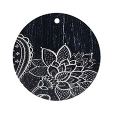 white lace black chalkboard Round Ornament