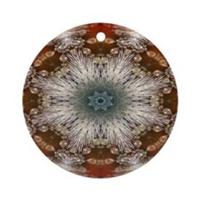 snowflakes white red pattern Round Ornament