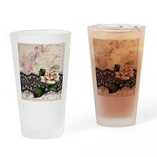paris black lace white rose Drinking Glass